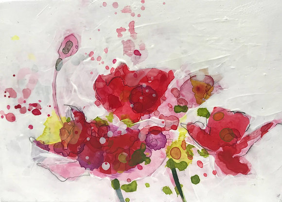 "Tanner Jensen | Poppies | Acrylic, Graphite on Wood | 5x7"""