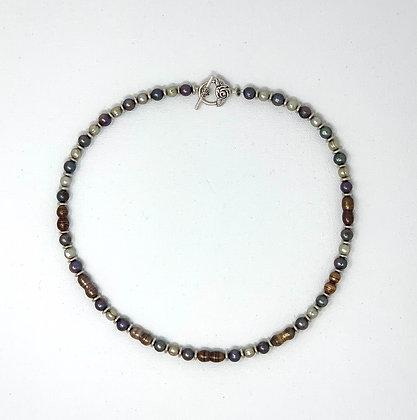 "Rachel Dragon | Multicolored Pearl Necklace, Rose Clasp | 20"""