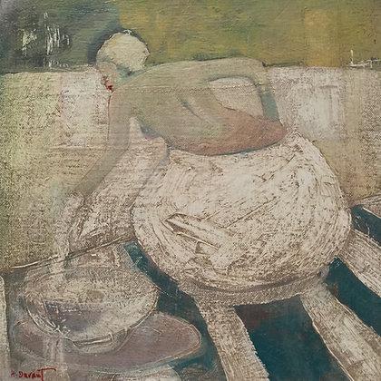 "Helen Durant | Turquoise Tea Party | Acrylic on Canvas | 12x12"""