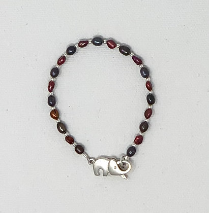 "Rachel Dragon   Pearl Bracelet, Elephant Clasp   6"""