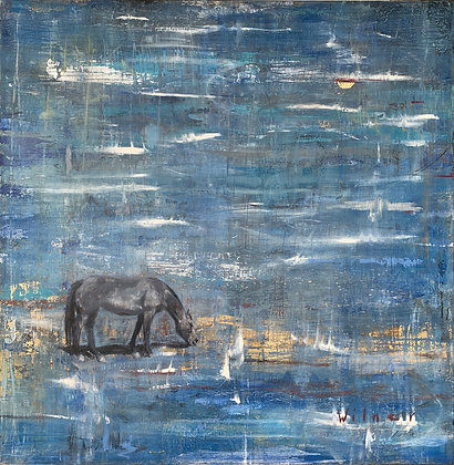 Present Thought   Encaustic, Oil, Metal Leaf on Canvas   40x40