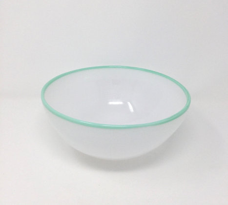"Eddie Magliaro   White Bowl, Light Blue Lip Wrap   Hot Glass   3.25x8"""