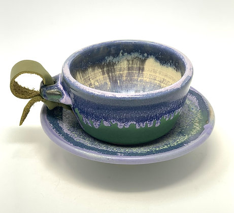 """Michelle Tanberg   Tea Cup, Saucer   Ceramic, Leather   2x3.5"""" cup, 5"""" saucer"""