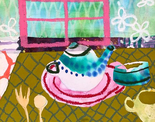 "Sophia George | Teapot | Mixed Media | 8x10"""