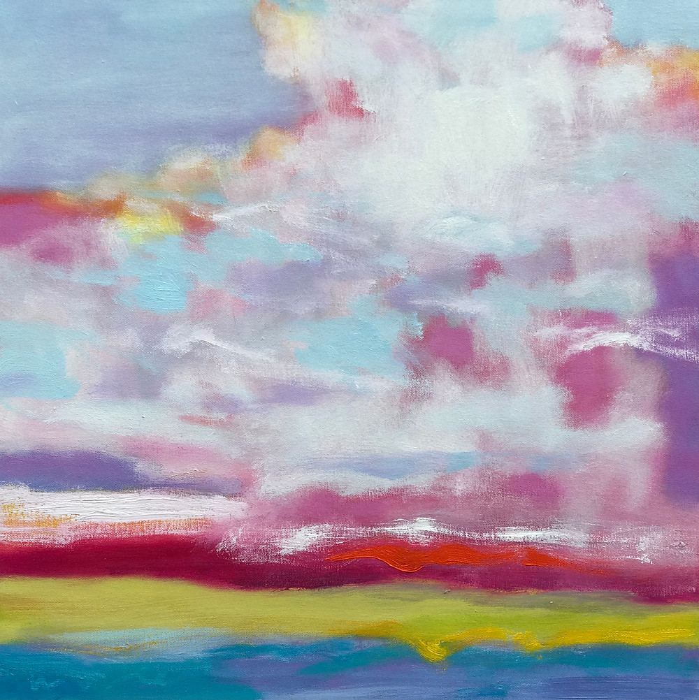 Abstract landscape painting of thunder clouds over the prairie
