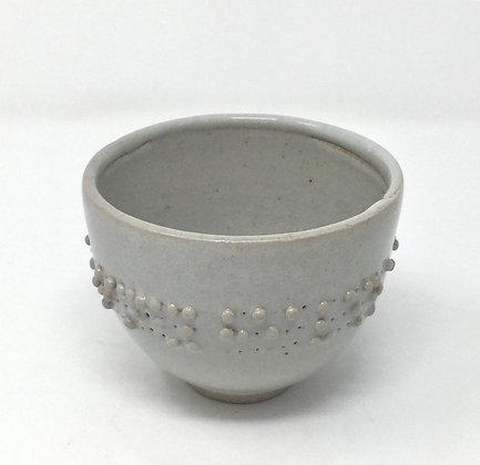 "Tea Bowl with Braille | ""I reach into windy heavens..."" | Ceramic | 3x4"