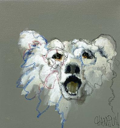 "Laughing Bear | Acrylic on Canvas | 8x8"""