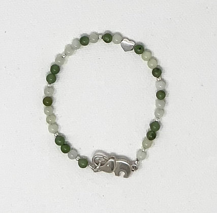 "Rachel Dragon   Jade Bracelet, Elephant Clasp   6.5"""