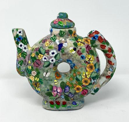 "Lori Feiss | Garden Tea Pot | Polymer Clay | 7.5x8x2.5"""