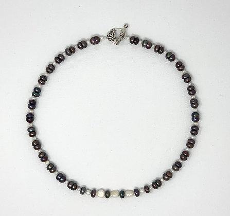 "Rachel Dragon   Pearl Necklace, Rose Clasp   20"""