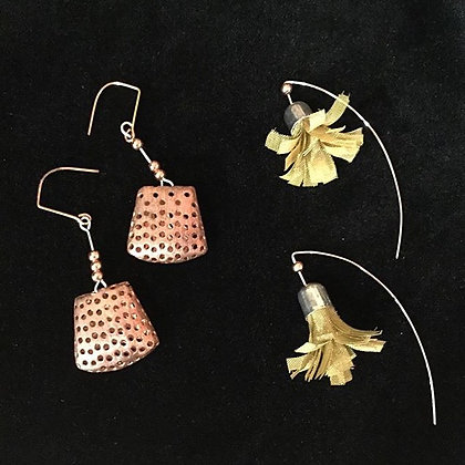 Honey Comb Drop Earrings | Copper | 2 x .75"