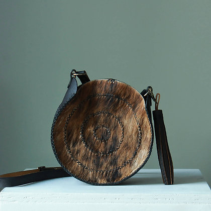 """Concentric Circles Cowhide Crossbody 