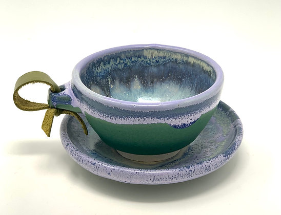 """Michelle Tanberg  Tea Cup, Saucer  Ceramic, Leather   2x4"""" cup, 5""""saucer"""