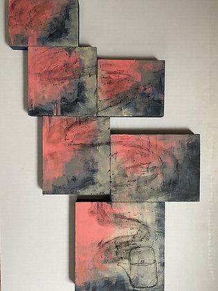 "Jessy Hanson | Evening Ritual | Acrylic, Charcoal on Wood | 26x18"""