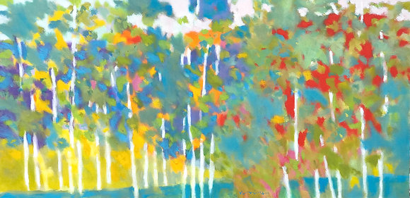 "Marshall Noice | Twenty One Birches | Oil on Canvas | 24x48"" | 5,600."