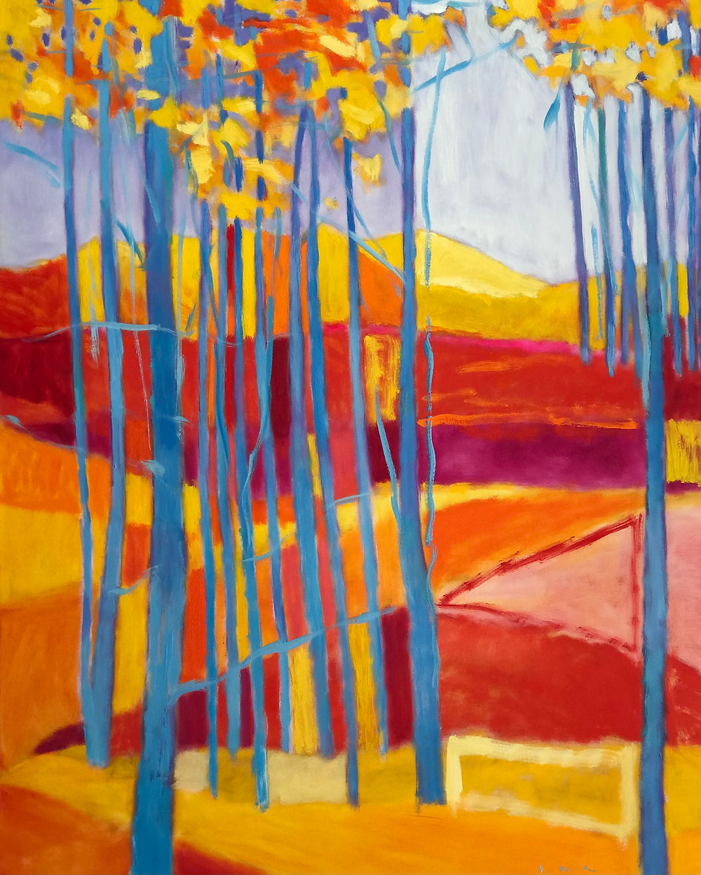 oil painting, colorful trees