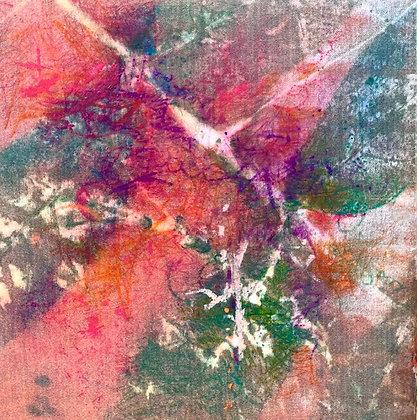 "Juliane Ketcher | Postcard #13 | Mixed Media on Wood | 6x6"""