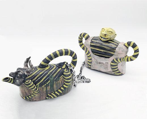 Jill Foote-Hutton | Daemons of High Tea | Earthenware | Teapot | Cookie Jar