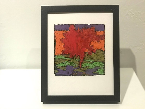 """Marshall Noice   Orange Hillside   Pastel on Paper   10.75x8.75"""" framed size"""