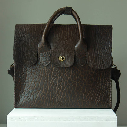 """Big Sky Briefcase   American Bison Leather   14x16x4"""" 46"""" strap"""