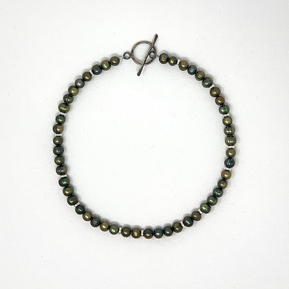 "Rachel Dragon | Green Pearl Necklace, Circle Clasp | 19"""