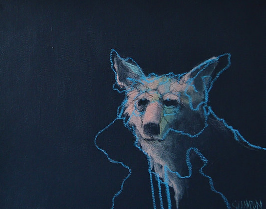 "Denny Champlin | Moonlit Coyote | Acrylic on Canvas | 11x14"""
