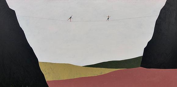 "Sam Walker | Somewhere Along the Way | Acrylic on Wood | 24x48"""