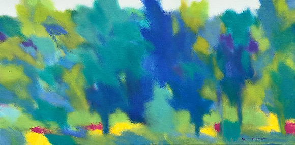 """Marshall Noice   Cool Shade   Oil on Canvas   15x30""""   2,600."""