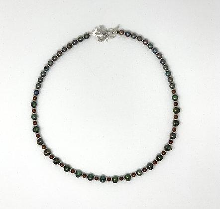 "Rachel Dragon | Multicolored Pearl Necklace, Leaf Clasp | 24"""