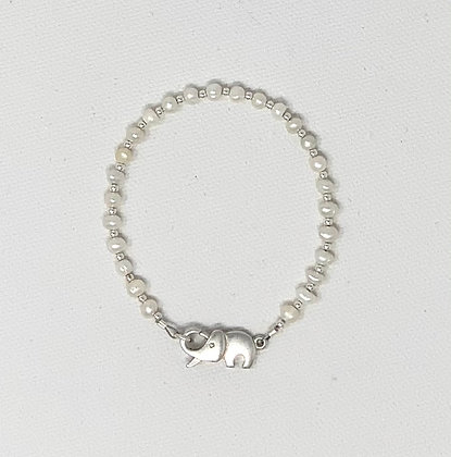 "Rachel Dragon | White Pearl Bracelet, Elephant Clasp | 6.5"""