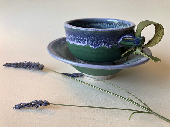 Purple Mountain Lavender Tea Cups with Leather Handles and Saucers |  62/set