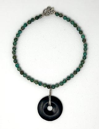 "Rachel Dragon   Turquoise, Obsidian Pendant   16"""
