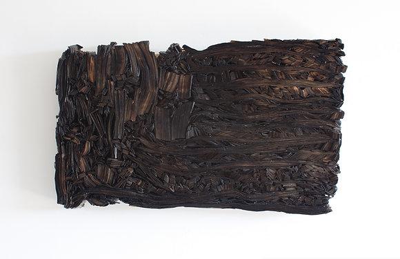 "Kate Hunt   Burnt Flag   Newspaper, Steel   19x32x3"""