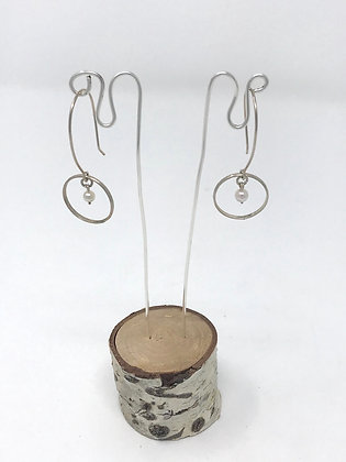 Sterling Silver Circle Dangles | Sterling, Uncultured Pearls | Elise Davis