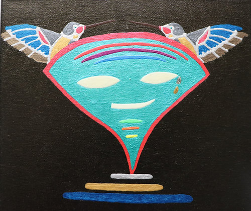 "Dennis Buzzard | Apollynite Fertility Mask | Mixed Media on Canvas | 10x10"""