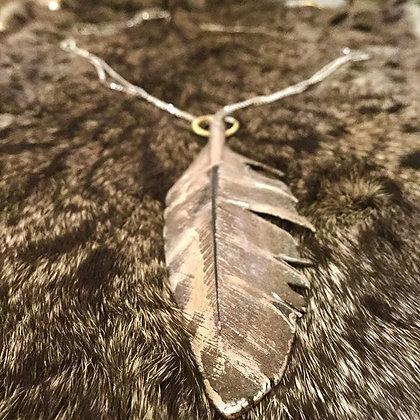 Turkey Feather Necklace | Turkey Feather, Brass, Copper, Silver, Gun Metal Chain
