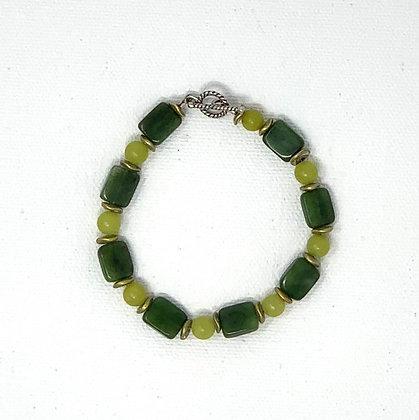 "Rachel Dragon   Jade Bracelet, Circle Clasp   6.5"""
