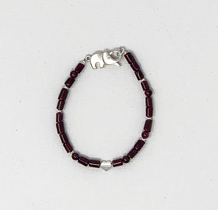 """Rachel Dragon   Garnet Bracelet, Elephant Clasp   6.5"""""""