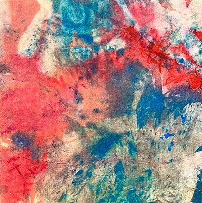 "Juliane Ketcher | Postcard #12 | Mixed Media on Wood | 6x6"""