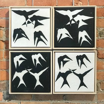 "Sarsten Noice | Barn Swallows | Mixed Media | 12x12"" each panel"