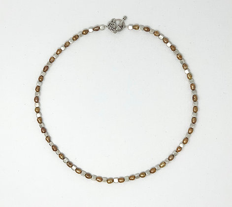 """Rachel Dragon   Gold Pearl Necklace, Rose Clasp   22"""""""