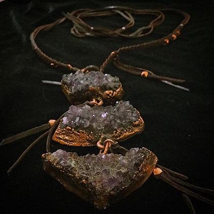 Amethyst Necklace | Amethyst, Deerskin Lace | Chelsea Martini