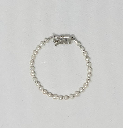 "Rachel Dragon   White Pearl Bracelet, Elephant Clasp   6.5"""
