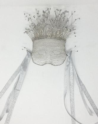 "Celinda English | Crocheted Mardi Gras Mask | Wire, Glass Bead  | 10x6x4"" 100."