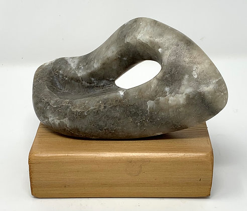 Louise Porter-Hahn | Flowing Ice Cap | Gray Alabaster | 6x2.75x3.5""