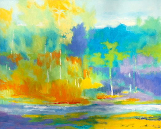 """Marshall Noice   Riffles, Boulder River   Oil on Canvas   48x60""""   10,300."""