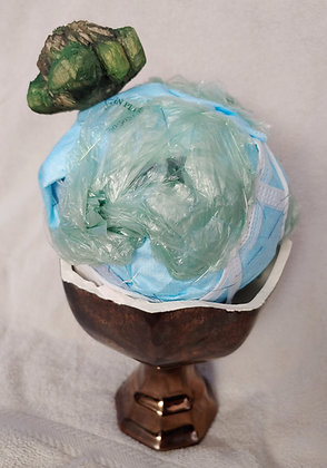 Sierra Benjamin | Convenient | Masks, Plastic Bags, Hand Carved Turtle | 12x6x6""