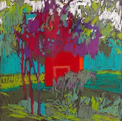 "Marshall Noice | Barn, Foys Lake | Pastel on Paper | 15x15"" | 1,800."