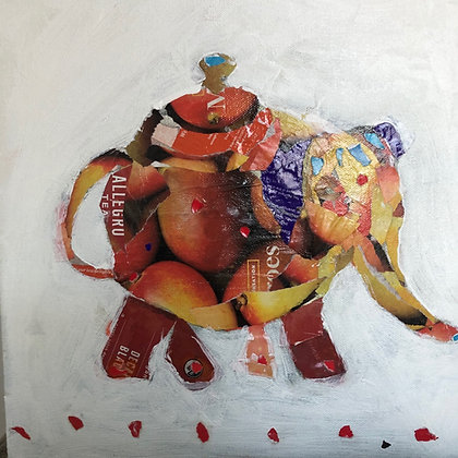 "Helen Durant   Chai Tea   Collage on Canvas   12x12"""