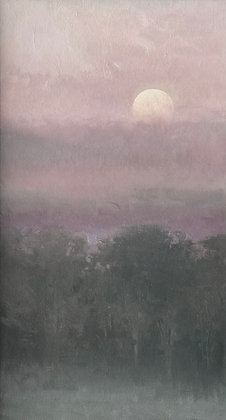 "Rachel Warner | Pale Moon Rising | Oil | 32x18"""